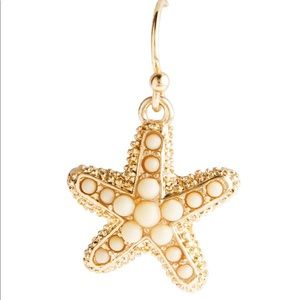 Gold and white starfish earrings